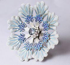 Ring | Barbara Macleod.  Layered silver and blue vitreous enamel, aquamarine stone.
