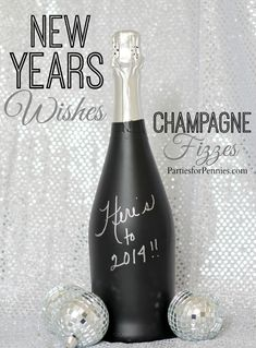 New Years Wish Champagne Bottle by PartiesforPennies.com
