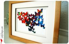 DIY 3D butterfly wall art. This tutorial uses craft paper, but we think you could swap it out for newsprint —how about the comic section? craft, 3d paper, butterfli project, paper punch, recycled magazines, butterfli art, paper butterflies