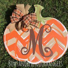 Pumpkin door hanger fall wreath fall door by BowsandBellsHangers Fall door wreath Happy fall y'all  Fall decor