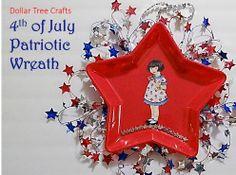Dollar Tree Crafts: Fourth of July Patriotic Wreath #DIY