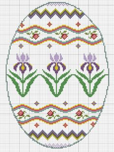 free cross stitch Easter egg pattern