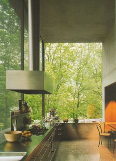 ... i would never leave the kitchen, just imagine cooking or baking with all the amazing smells while it was a beautiful rainy day outside.   (Kitchen inside Peter Zumthor's own house. Beautiful large sheets of glass.)
