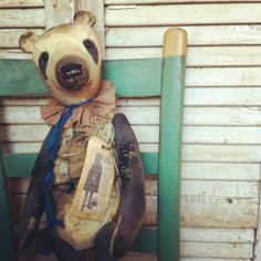 Antique style bear made from old wool blanket, Brady Bears Studio.