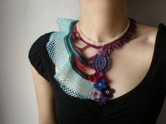 Freeform Beaded Crochet Necklace by irregular expressions