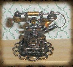Artisan Dollhouse Steampunk Phone by CauldronCraft, via Flickr