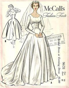 McCalls 9678 Vintage 1954 Wedding/Bridal Gown Sewing Pattern