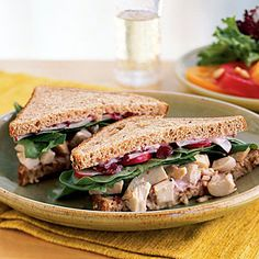 Roast Chicken and Cranberry Sandwiches   CookingLight.com #myplate #protein #wholegrain #vegetables #fruit
