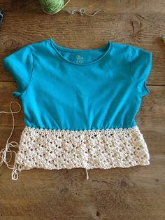 Annoo's Crochet World: Up-Cycled Little girl t-shirt Dress Free Pattern