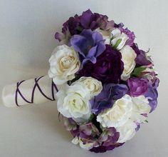 Purple Bridal Bouquet Silk Wedding Flowers Bridal party accessories. $149.00, via Etsy.
