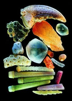 Grains of sand under a microscope