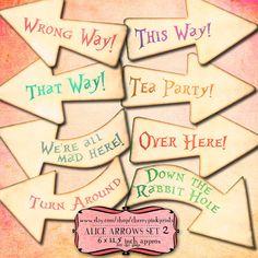 ALICE ARROWS SET 2 Alice in Wonderland party by CherryPinkPrints