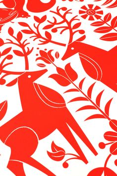 Field Print 01 in Red by Tad Carpenter Creative