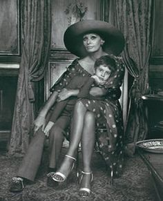 Karsh Portrait of Sophia Loren with son Eduardo  The only portrait of his mother hung at home