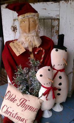 Prim Santa, Snowmen, and Pillow designed and made by Rabbit Ridge Primitives
