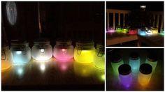 DIY Colorful Lights Using Solar Lights And Jars