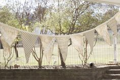 banner burlap lace ticking and french script
