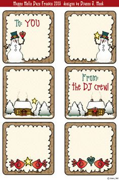 The second Holly Daze FREEBIE will bring a little grin to your gift wrapping this holiday season.  Just print off a page of these adorable holiday gift tags & tie 'em on with a little ribbon or raffia... TA DA!  Just for YOU, from the DJ crew :) (only available through midnight EST 12/6/13)