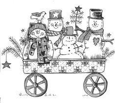 Snowmen in cart- lineart