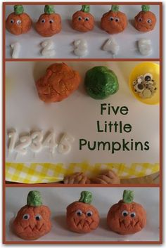 Five Little Pumpkins play dough - a fun way to learn to count - perfect for Halloween.