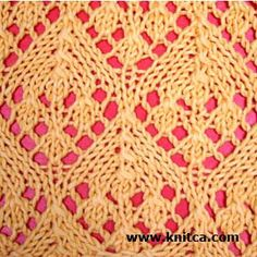 Right side of knitting stitch pattern – Lace 3