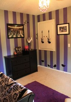 Purple and black baby room on pinterest for Beatles bedroom ideas