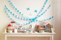 farm, dessert tables, idea, sweet tables, birthday parties, theme parties, pinwheel, garland, paper chains