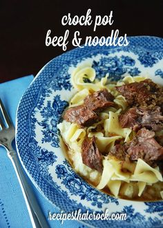 Crock Pot Beef and Noodles - Old fashioned taste made easy! #CrockPot #ComfortFood
