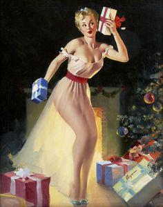 GIL ELVGREN  A Christmas Eve (Waiting ForSanta), 1954.