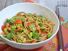 8 oz. whole wheat spaghetti or angel hair pasta $0.99 ¼ cup hoisin sauce $0.24 1 Tbsp sriracha sauce $0.09 3 green onions $0.20 ½ bunch fresh cilantro $0.45 1 medium red bell pepper $1.99 1 cup frozen shelled edamame $0.82 ¼ cup unsalted peanuts $0.21