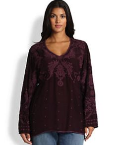 Johnny Was Plus Size V-Neck Tunic