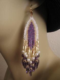 Seed Bead Earrings  Purple by pattimacs on Etsy, $24.00