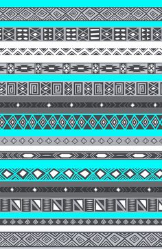 Ice Mint Blue Grey Aztec Pattern by RexLambo