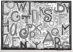doodle journaling zentangle alphabet letters, art journal, doodl journal, doodles, alphabet dreamin, hand drawn, letter graffiti, graphic art, beauti flower