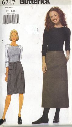 BUTTERICK 6247 MISS 12-16  TOP + STRAIGHT SKIRT WITH MANY POCKETS PATTERN-UNCUT