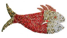 Red Snapper  #Art, #BottleCaps, #Fish, #Recycled