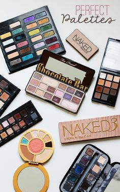 Perfect eyeshadow palettes including the Too Faced Chocolate Bar, Sonia Kashuk Eye on Neutral, Urban Decay Naked 3, Lorac Pro, and Lorac Pro To Go!