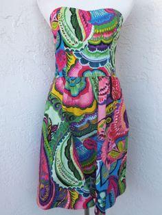 Folter-size-Large-floral-pocket-dress-strapless-Americana-Rockabilly-NEW
