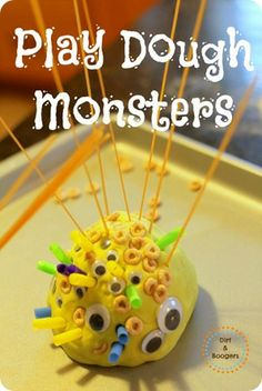 Create Play Dough Monsters.  A creative fine motor activity for many different ages! toddler activ, pony beads, monster activities, sensory play, play dough activities, kids church, dough monster, playdough, kid craft