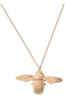 Less save up for than find a similar piece--I like the look of this 22K rose gold-plated bumblebee necklace, but not so much at $230.