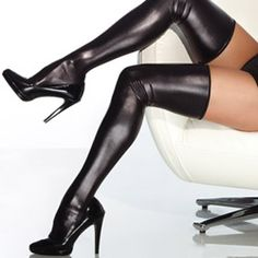 Wet Look Thigh High Stockings. Because you don't have hundreds of dollars for thigh high boots.
