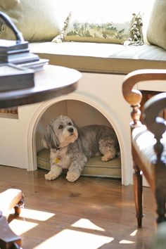 Love how this one incorporates a napping spot for a sweet doggie.