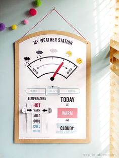 Create a neat printable weather station to hang on your wall. #Funkytime
