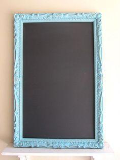 TEAL CHALKBOARD Memo Board Magnetic Wedding Menu Sign Kitchen Chalkboard Framed Chalk Board Turquoise Vintage Blue Vintage Magnet Board