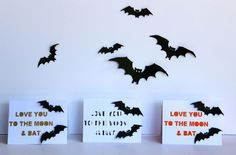 love you to the moon and bat | DIY Halloween Cards created with Silhouette Portrait