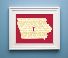 Iowa State Cyclones  State Print by KenmoreHouse on Etsy, $12.00