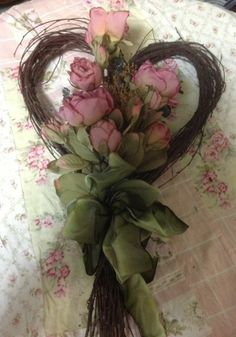 SHABBY CHIC PINK ROSES HEART FLORAL WREATH WALL HANGING wreath mad, beauti wreath, floral wreaths