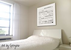 Large word art above the bed - custom designed for your home and style.
