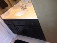 AFTER - Vanity painted with Maison Blanche Wrought Iron by Karla Boddie