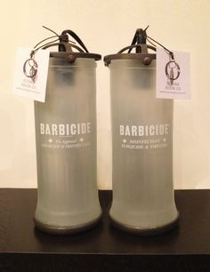 Barbershop lamps from upcycled Barbicide jars, created by Stephanie Reppas, October Design Co.